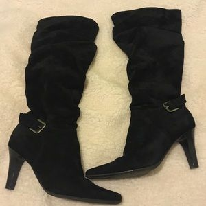 Blake Scott black suede heeled boots
